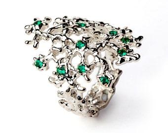 SEA SPRAY 14k Gold Emerald Ring, Natural Emerald Ring, Gold Gemstone Ring, Gold Statement Ring, Italian Fine Jewelry