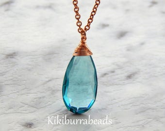 Aquamarine Necklace, March Birthstone Necklace, Rose Gold Necklace, Solitaire Necklace, Layering Necklace, Gemstone Jewelry