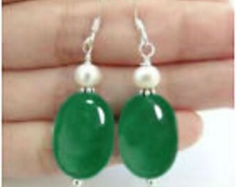 Natural Green Jade W. Freshwater Pearl 925 Sterling Silver Gems Dangle Earrings