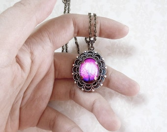 Violet Daze --Small  Wearable Art Locket -- tree locket.purple.Christmas gift,Valentine's Gift