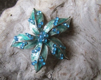Turquoise Rhinestone Floral Pin Brooch Silver Tone