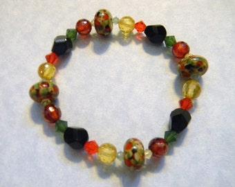 Art Glass, Crystal and CZ Stretch Bracelet.