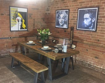 NEW 'Richmond' Base Vintage Industrial Plank Top Dining Table