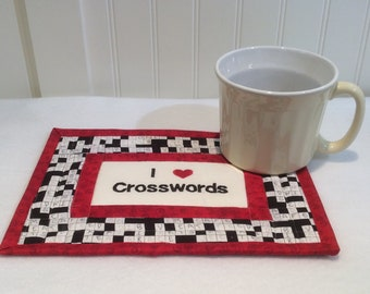 Crossword Puzzle Mug Rug, Crossword Puzzle, Coaster, Snack Mat, Trivet, Placemat, Scrabble, Quiltsy Handmade