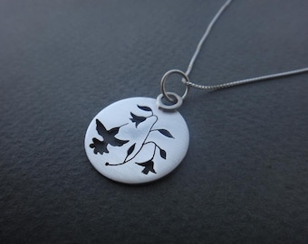 Hand-Sawn Sterling Silver Humming Birds Pendant