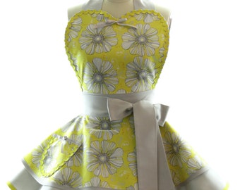 Retro Apron - Dandy Dandelion Sexy Womans Aprons - Vintage Apron Style - Yellow Floral Pin up Grey Rockabilly Cosplay Lolita