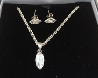 Boxed vintage sterling silver and CZ drop necklace and earrings set