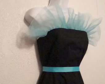 Tulle Retro Dress . Strapless Black with Aqua Netting . One Of A Kind, Medium