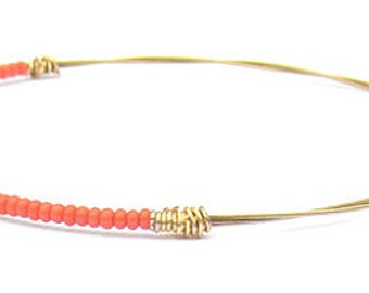 Beaded Bracelet // Guitar String Jewelry // Coral Pink Gold Bangle Bracelet // Eco-Friendly Jewelry // Bridesmaid Gift // Thin Gold Bracelet