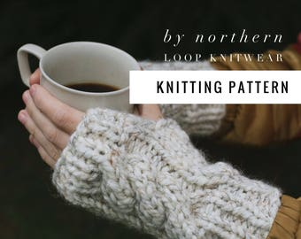 Knitting Pattern / Cable Knit Fingerless Mittens Gloves Easy