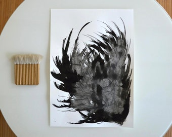 Original Abstract Art Ink Painting . Feather, nature,movement,fall, autumn,abstract black and white ink drawing by Cristina Ripper