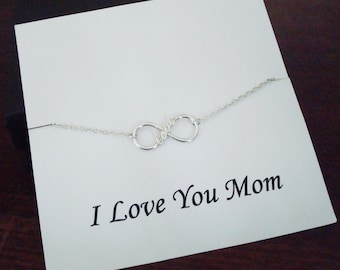 Love Infinity Charm Sterling Silver Bracelet ~Personalized Jewelry Card for Mom, Mother in Law, Step Mother, Mother of Groom / Bride