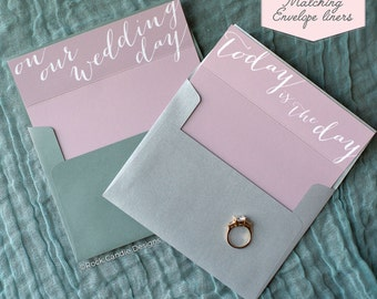 Printed Matching Envelope Liner | A2 Sized Liner | I Can't Wait To Marry You Card | Card to Give Your Wife the Morning of your Wedding Day