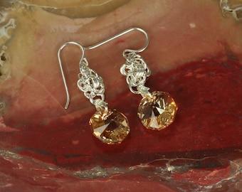 Earrings Sterling Silver Swarovski Gold Pendant Drop Octagon Earings