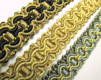 Black and Gold, Slate Gray, Brown and Gold, or Gold 5/8 inch Fancy Braided Decorator Gimp Trim