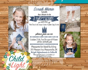LDS Baptism Invitation- Girls