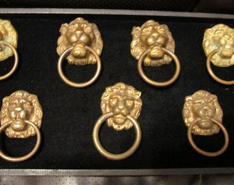 """7 Antique Bronze Lion Head Drawer Pulls 3 1/2"""" x 2 1/2"""""""
