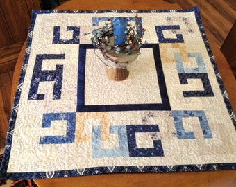 Quilted Table Topper, Centerpiece, Contemporary, Reversible, Blue Beauty