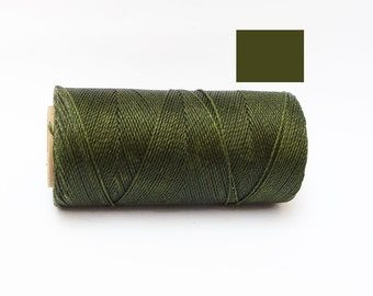 Macrame Cord Waxed Polyester Cord Spool of 188 yards Olive Green