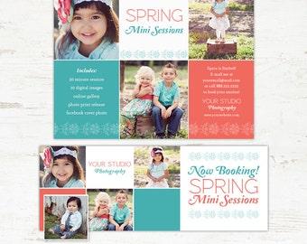 Spring Mini Session and Facebook Timeline Template Set INSTANT DOWNLOAD