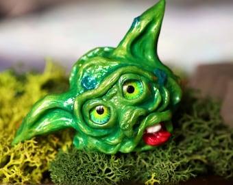 Pet Goblin Creature Figurine Sculpture, SPLATT, Boglin, Cute Fantasy Monster, Hand Sculpted, OOAK (Made to order)