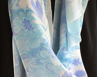 "Blue Hearts and Flowers Hand-marbled Silk Washable Scarf With Metallic Gold Long 14 x 72"" Hand-marbled Large"