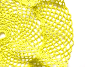 Lime green hand dyed Crochet Doily Vintage doily with ruffle effect