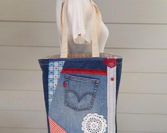 Canvas Market Bag with Crazy Denim Patchwork, Tote Bag, Shopping Bag