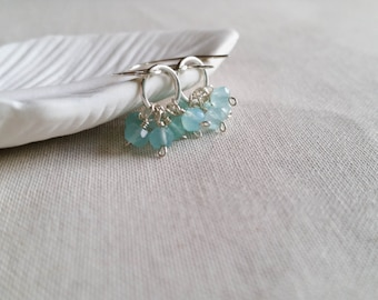 Aqua Chalcedony Cluster Drops: Sterling Silver Wrapped Faceted Sky Blue Chalcedony Mini Hoop Drops Gift for Her Simple Dangle Earrings
