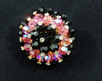 Vintage Pink and Black Glass Beads Brooch