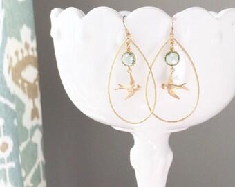 LARK | Gold Bird Earrings | Gold Teardrop Earrings | Gold + Sea Green Sparrow Earrings | Bridesmaid Earrings | Bridesmaid Gifts | Bird