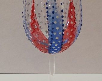 Red White Blue Wine Glass. 4th of July Wine Glass. Patriotic Wine Glass. Hand Painted Wine Glass.