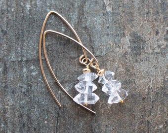 Crystal Earrings, Herkimer Diamond Earrings, Wife Gift for Her, Gemstone Earrings, Drop Dangle Earrings, Handmade Jewelry, Gemstone Jewelry