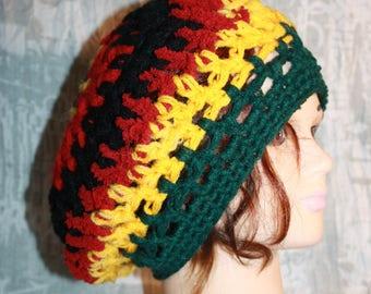 beret, crochet;  very nice mesh rasta