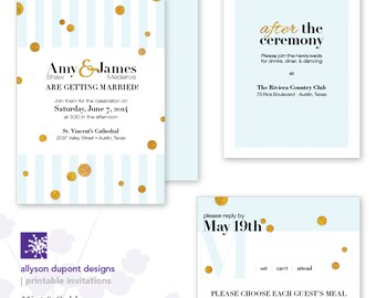Printable Wedding Invitations - Mint & Gold - Faux Gold - Stripes and Spots - Invitation, Reception Card and Response Card
