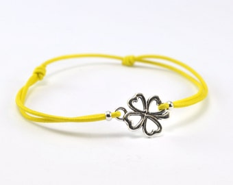 Bracelet yellow cord clover