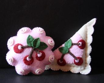 Handmade pincushion, cherry applique pincushion, sewing notion, sewing gift, pin cushion, felt pincushion, stocking stuffer