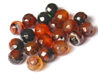 Amber 5 faceted Agate beads 10mm