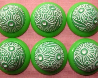 6 Vintage GREEN  Plastic Flower DOME Cabochons