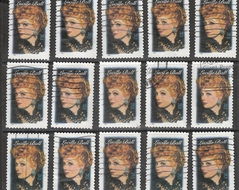 25 LUCILLE BALL Used & Cancelled U.S. 34c Postage Stamps (Legend of Hollywood)
