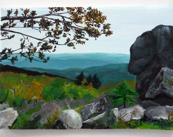 Mountain Painting, Grandfather Mountain, Original acrylic painting by krystalmichelleart Mountain landscape