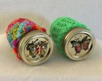 Crocheted jar cozy, mason jar decorative cover, crocheted jar cover, crochet jar cover, crocheted covered mason jar, butterfly jar cover