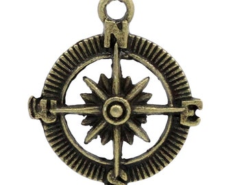 "30PCs Charm Pendants Compass Bronze Tone 30mmx25mm(1 1/8""x1"")"