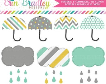 80% OFF SALE Rainy Day Clipart Umbrellas and Shower Cloud Weather Graphics Instant Download - Personal & Commercial Use