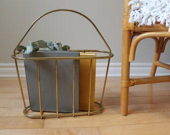 Vintage brass magazine rack / hollywood regency decor / wire basket