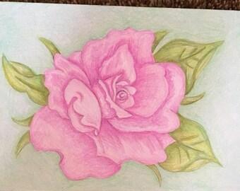 Dessin au crayon couleur rose