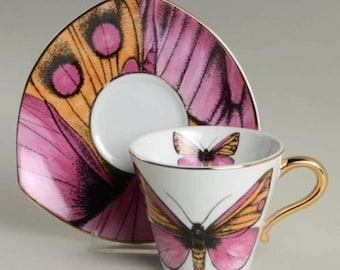 New Grace Tea Ware Butterfly Cup and Saucer Set, Pink Butterfly Tea Cup & Saucer