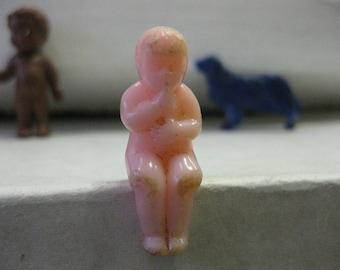 Vintage Tiny Hard Plastic Dollhouse Sitting Baby Doll Pink 1950s