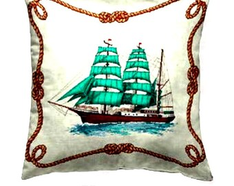 Decorative  Pillow, Navy Pillow, Ship Pillow Covers, Pillow With Both Sides , Home Décor, Boat Pillow, Great Gifts.