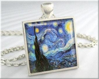 Van Gogh Starry Night Pendant, Vincent Van Gogh Art Pendant, Vintage Art Necklace, Resin Charm, Square Silver, Art Lover Gift 118SS